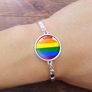 Fashion LGBT Gay Lesbian Bracelet Gay Pride Rainbow Time Artificial Gems Bracelet Silver Color Jewelry for Women Men Wholesale