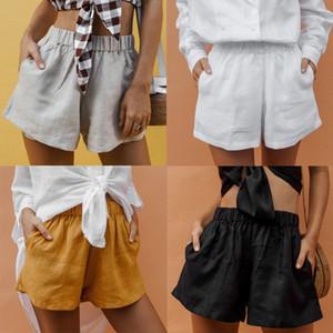 Verano de las mujeres casual Pantalones cortos elásticos cintura suelta holgados pantalones cortos color sólido encima de longitud de la rodilla shorts de playa