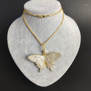 Hip Hop Big Butterfly Pendant Necklaces Bling Chains Mosaic Zircon Necklace Butterfly Chains for Women Fashion Accessories1