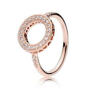 Original 925 Sterling Silver Rose Gold Hearts Of Halo Ring For Women Wedding Anniversary Party Gift Fashion Jewelry