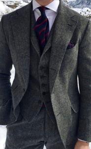 Красивый Две Кнопки Серый Твидовый Жених Смокинги Вырез Лацкан Женихи Мужская Свадьба / Выпускной / Ужин Лучший Человек Блейзер (Куртка+Брюки+Жилет+Галстук) K108
