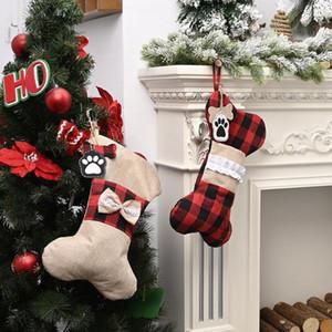2021 Yaratıcı Christams çorap Ekose Hattı Köpek Kemik Tasarım Noel çorap çorap Çocuk Hediye Çanta Yılbaşı Christamas Ev Dekorasyonu