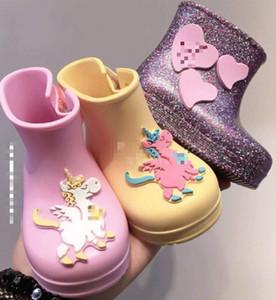Melissa lentejuelas jalea zapatos Bebé niños unicornio Botas de lluvia chicas amor corazón apliques princesa botas cortas niños botas de agua antideslizantes F4313