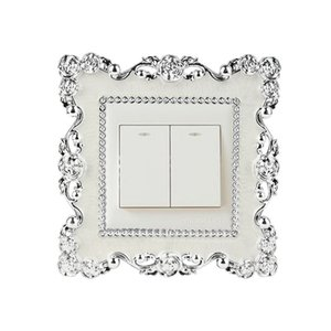 New Silver Rose Frame Switch Sticker Resin Surround Switch Sticker Fashion Home Living Room Decoration Wall Switch Decal