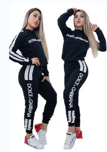 Las mujeres se chándales dos tripulantes piezas conjunto de cuello largo de la manga de la camisa de deportes y los pantalones fijaron a las mujeres la letra de impresión juego que activa Deportes Streetwear