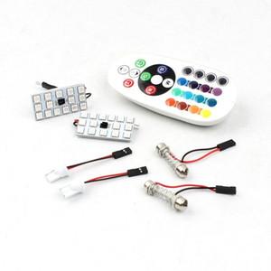 자동차 12 볼트 T10 5050 15SMD 자동차 원격 제어 LED 램프 자동차 RGB LED 인테리어 돔 웨지 독서 다채로운 전구
