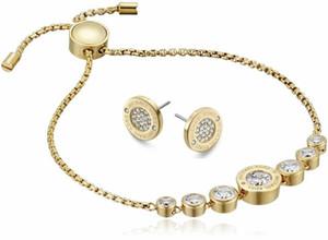 2020 المصممين سيفر / 18K وردة نوع ذهب سوار الماس أقراط مجموعة مجوهرات للنساء مجوهرات الأزياء الجميلة الزفاف / الخطوبة هدية
