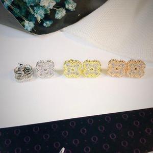 marchio di moda in argento 925 dei quattro fogli fiore dei monili per le donne collana matrimonio orecchini braccialetto bianco madreperla shell gioielli trifoglio