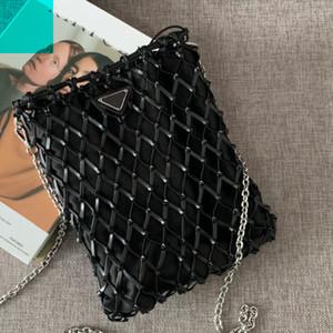 Femmes Drawable Sacs Bucket Sac tissé chaîne sac à bandoulière en nylon Crochet Fashion New Style Hot vente Haute-Dame Sac de papier noir Qualité