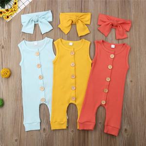 Лето мягкого хлопка Romper Pure Color Baby Girl Boy Кнопка комбинезон + стяжка Unisex Одежда рукавов Новорожденные Стильный комбинезон