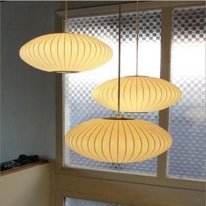 George Nelson Bubble soucoupe lampe LED E27 soie blanche Pendentif lumière blanche en soie plat Lampe pendentif boule lumières éclairage blanc en soie suspendus ems