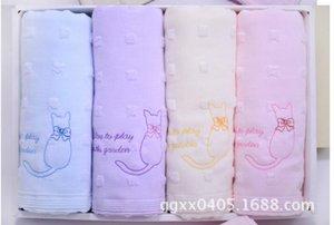 45pcs / lot! Beau mignon Imprimé Visage de chat serviette 100% coton sain serviette cadeau décoratif Serviettes de bain