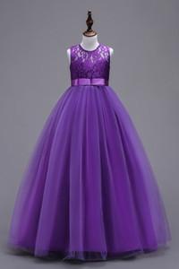 Mor Prenses Balo Çiçek Kız Elbise Şeffaf Mücevher Boyun Tül Dantel Bow Kanat Kız Uzun doğum günü partisi Abiye In Stok MC0889