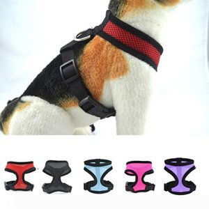 A Adjustable Fashion Dog Harness Mesh Cloth Pet Puppy Dogs Collar Chest Strap Harness Lead Leash with Clip Soft Mesh Fabric L009