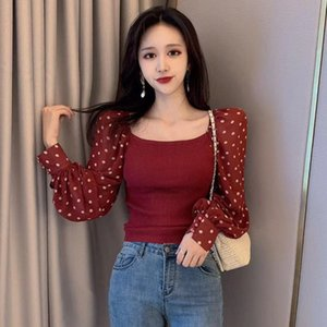5colors Slim manches longues talonnage shirt pois patchwork T-shirt manches Femme Lantern Casual Tops
