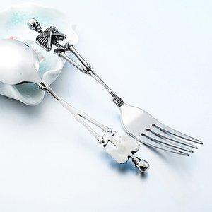 Titanyum Çelik İskelet Kafatası Çatal Kaşık bulaşığı Vintage Sofra Sofra takımı Çatal Seti Metal Meslekler Cadılar Bayramı Partisi Hediyeleri
