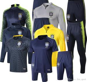 top quality 2018 Brazil Soccer training suit tracksuit 18 19 chandal D.COSTA G.JESUS P.COUTINHO MARCELO Brazil soccer jacket survetement