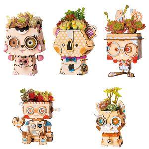 Tiesto Tiesto Rolife la historieta DIY de madera Decoración suculentas Caja Jardín de Bonsai Pot para el jardín de flores del Home Office Decor T200104