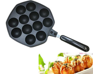 12 Delik Takoyaki Izgara Tava Plaka Kalıp Ahtapot Topu Maker Kolu Ile Ev Pişirme Pişirme Araçları