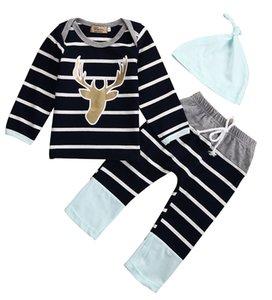Newborn Baby Boy Girl Ropa de algodón de manga larga con rayas Black Deer Print Tops + Pantalones largos + Sombrero 3PCS Trajes casuales