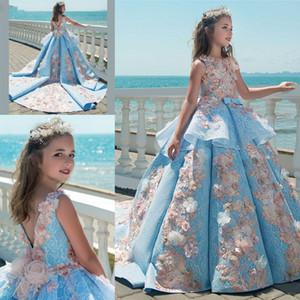 Prenses 3D Çiçek Kız Elbise Düğünler vestidos daminha Çocuk Abiye Giyim Büyük Balo İlk Communion Elbise İçin Kız