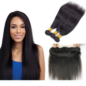 H Brezilyalı Düz Saç Paketler ile Kapatma Toptan İnsan Saç wefts 13x4 Dantel Frontal Kapatma Remy İnsan Saç Uzantıları Fas ile