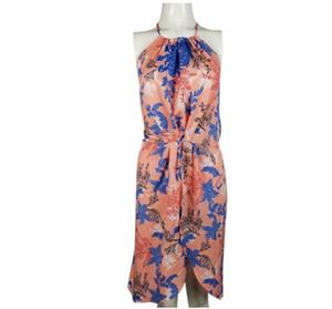 Floral Casual Mulheres mangas Halter Neck vestido da menina de verão impressão Partido Vestidos Praia Vestidos Open Back vestido sem mangas GGA3373-3