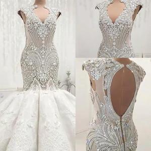 Люкс арабский Дубай Бисероплетение Crystals Русалка Свадебные платья выдалбливают Backless рукавов аппликация Ruched Длинные Люкс Свадебные платья BC0502