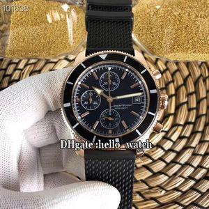 Новый хронограф Superocean Heritage II из розового золота с черным циферблатом A1331212 Кварцевый хронограф Miyota Мужские часы с каучуковым ремешком Спортивные часы
