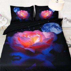 Azul marinho cama Rainha California King Duvet Cover Galaxy floral Colcha completo do universo Pillowcase 3pc NO Quilt