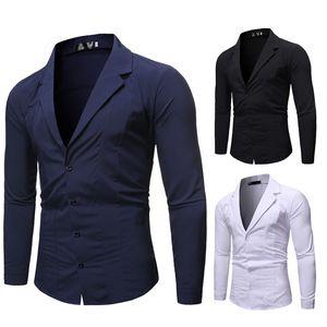 Mens Dress Shirts Langarm-Fest Einfach Knopf Cardigan beiläufig nehmen passendes Hemd Mode Male Tops
