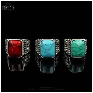 Vintage Men Calaite Stone Rings Craving Silver Color Tibet Boho Anillos Blue Green Male Bijioux Femme Jewelry