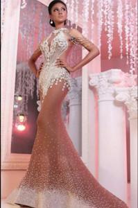 Вечернее платье Rapho Ziad Nead Elie Saab yousef Aijasmi 2018 русалка выключена шумихируя кисточка серебряные кристаллы Zuhair Murad