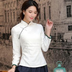 Camisa chino tradicional encima de manga larga del cheongsam del envío libre superior del collar del mandarín de la mujer tradicional china lino blusa T200320