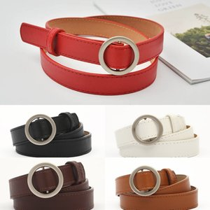 Women's fashion round buckle perforated student jeans and jeans casual belt simple all-match thin belt