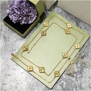 Neue exquisite Klee Cleved Carved 18k Gold Pullover Halskette Für Frauen Mode Marke Luxus Designer Designer Schmuck Für Frauen Freies Verschiffen