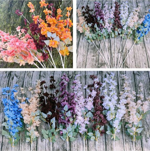 Artificial Plant Simulation Flower Delphinium Wedding Party Road Lead 5 fork with Leaf Hyacinth Delphinium Home Garden Decorations