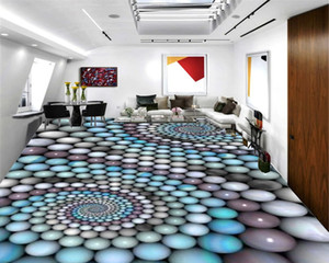 Personalizado Andar 3D Mural Wallpaper colorido Bola Flor Efeito interior HD PVCSelf Adhesive Pavimento Wallpaper