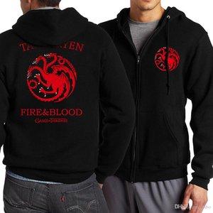Game of thrones zipper dragão Lobo fresco imprimir zipper hoodies velo homem quente de primavera Outono treino sportswear Casual WGWY20