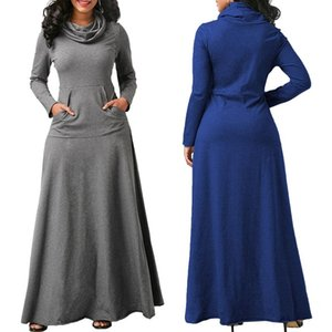 De vestir de manga larga de las mujeres de gran tamaño elegante caliente vestido maxi largo otoño de cuello alto ropa de la mujer con el bolsillo más el tamaño de Bigsweety