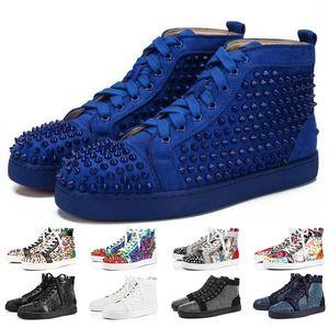 Classique Designer Red Sneakers chaussures Bas bas clouté Cut Spikes Chaussures de marque pour les hommes et les femmes Chaussures Parti Baskets en cuir de cristal de mariage