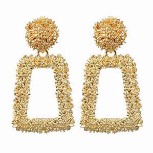 Designer Geométrica Declaração Brincos Gota Dangle Medalha Textura Brincos Jóias De Casamento (Ouro, Prata, Rosegold)