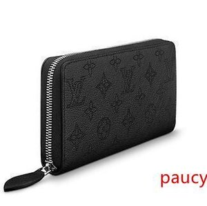 M61867 ZIPPY WALLET Perforated pattern black Real Caviar Lambskin Chain Flap Bag LONG CHAIN WALLETS KEY CARD HOLDERS PURSE CLUTCHES EVENING