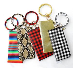 Nuova moda multiful anello portachiavi e portafoglio di carta in pelle PU o portachiavi con borse da polsyt corrispondenti per le donne ragazze