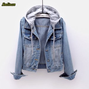 Smlinan Spring Autumn Harajuku Streetwear Denim Jacket Women Single Breasted Hooded Coat Female Plus Size Vintage Chaqueta Mujer