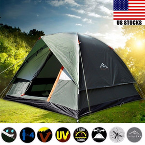 Outdoor storm proof camping tent 4 people double layer outdoor family camping traveling tent