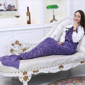 Örme Battaniye Uyku Yetişkin Süper Yumuşak For All Seasons Çocuklar Yetişkin Mermaid Tail Battaniye Tığ Denizkızı Battaniye