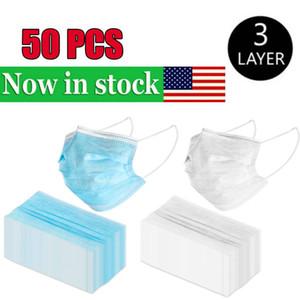 USA 50PCS Einweg-Gesichtsmasken 3 Ebenen staubdicht Gesichtsschutz Maske Abdeckung Masken Set Anti-Staub-New