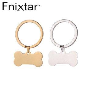 Fnixtar Персонализированные собака ID брелок Steel животных Pet Dog Blank Bone Key Holder 10piece / серия