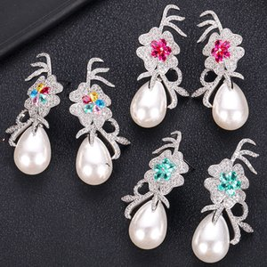 JANKELLY Luxury flower with pear Long Earrings For Women Wedding Cubic Zircon Crystal CZ Dubai Bridal Earrings Fashion Jewelry